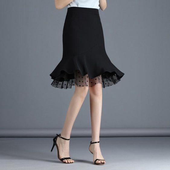 魚尾裙半身裙女短裙黑色荷葉邊魚尾裙2020夏高腰拼接蕾絲裙顯瘦包臀裙秋