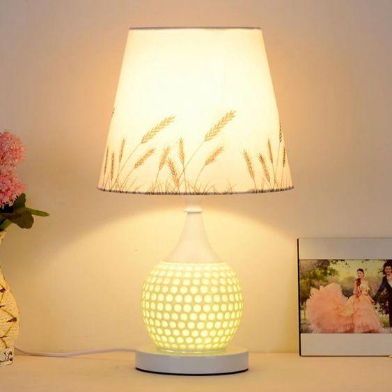 桌燈歐式現代簡約床頭燈臥室床頭燈客廳創意時尚田園調光布藝檯燈