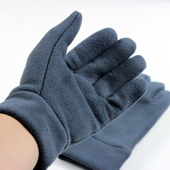 久拼抓絨保暖冬季五指手套運動自行車戶外騎行手套純色韓版