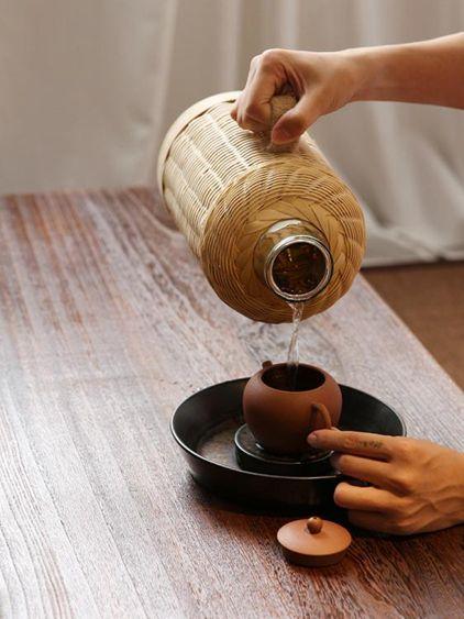 手工竹編水瓶熱水瓶傳統木塞熱水壺保溫瓶玻璃內膽水壺家用和茶室