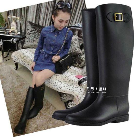 雨牧韓版時尚長筒雨鞋女式馬靴高幫雨靴磨砂水鞋平跟膠鞋套鞋顯瘦