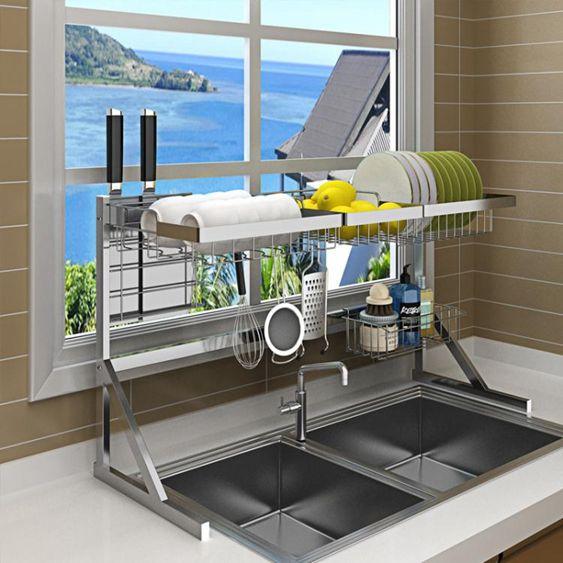 瀝水架 不銹鋼晾碗水槽架瀝水架廚房置物架用品2層收納架水池放碗架碗櫃