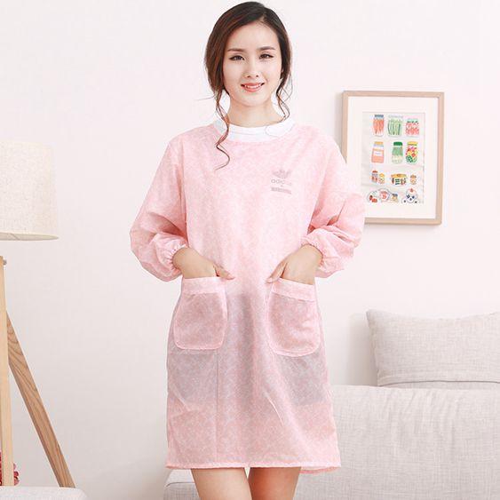 韓版時尚家用清潔廚房成人可愛女罩衣純色長袖圍裙護衣工作服