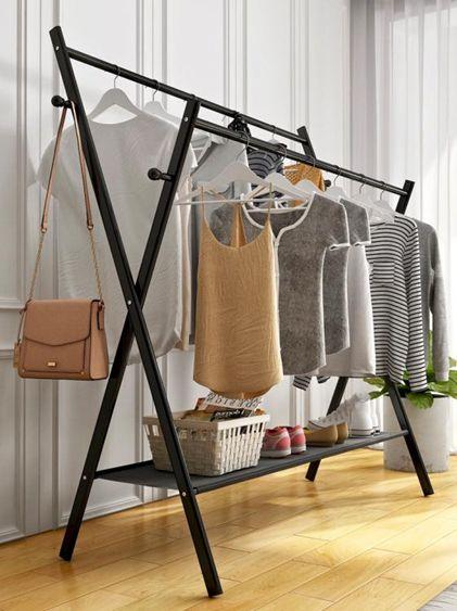 衣帽架 晾衣架落地臥室折疊掛衣服架子雙桿室內涼衣桿家用簡易陽臺曬衣架