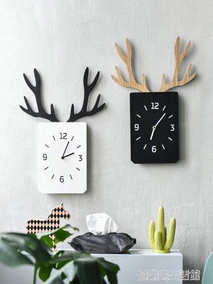 北歐創意簡約掛鐘客廳壁掛牆面臥室靜音時鐘木質裝飾鹿角方形鐘表