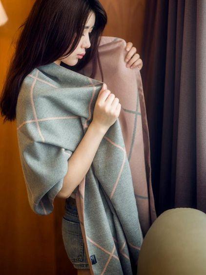 圍巾女韓版雙面格子學生圍脖長披肩加厚兩用春季百搭保暖大披風