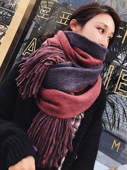 圍巾春女韓版百搭兩用披肩學生保暖毛線針織粗線加厚圍脖女春季
