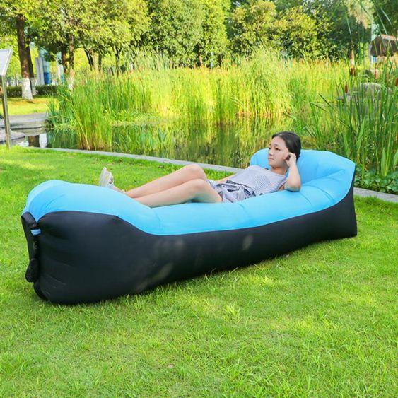戶外懶人沙發午休床沙灘空氣沙發野營折疊充氣睡袋單人氣墊沙發