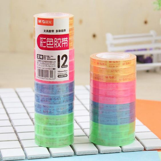 晨光透明彩色膠帶文具膠紙小膠條學生修正改錯字膠帶8/12mm寬