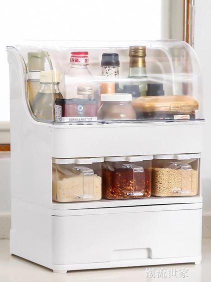 防油帶蓋調味盒油鹽醬醋瓶調料罐子置物架廚房用品收納盒組合套裝