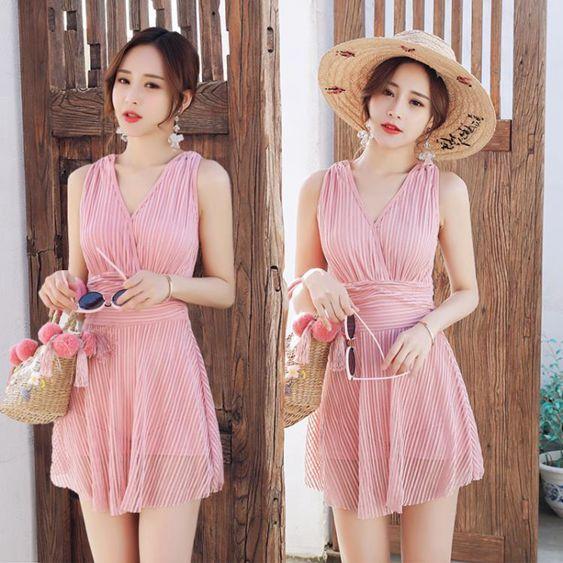泳衣女裙式連體小胸聚攏遮肚性感韓國學生保守美背溫泉游泳衣