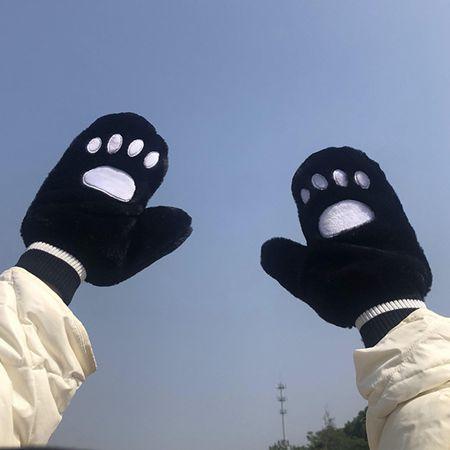手套女冬天貓爪加絨加厚潮可愛學生掛脖ins韓版連指保暖騎車手套