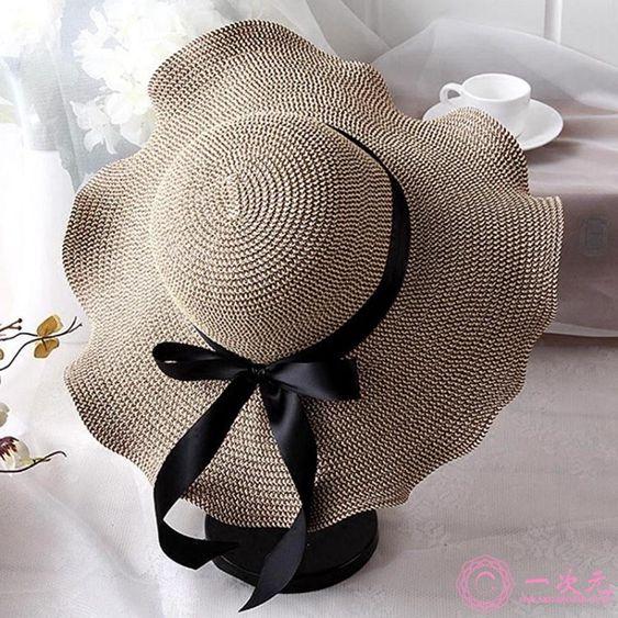 遮陽帽沙灘帽子女夏海邊大帽檐防曬波西米亞甜美可愛折疊小清新度假大沿帽