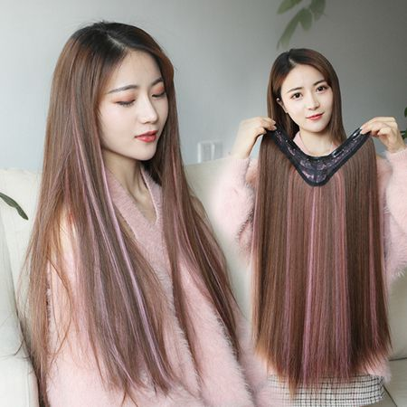 漸變挑染假髮片彩色一片式女長髮接髮片假髮夾無痕隱形假髮條