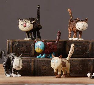 客廳書房家居裝飾品軟裝樹脂創意小擺件CAT貓ZL819
