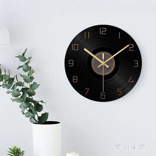掛鐘圓形創意簡約個性現代時尚家用客廳靜音電子時表QW7529