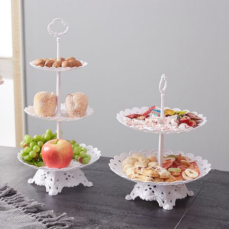 塑料水果盤家用客廳三層蛋糕架歐式幹果盤下午茶點心臺甜品架雙層