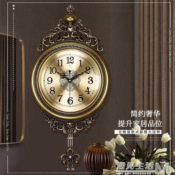 北極星歐式金屬盤搖擺靜音掛鐘客廳臥室個性創意時尚裝飾石英鐘錶