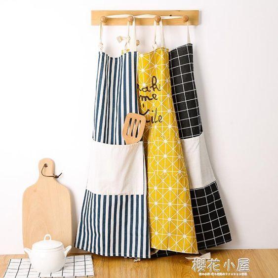 家用廚房做飯純棉正韓時尚防潑水防油工作圍裙男式女式成人