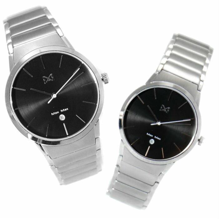 Max Max MAS7023-1+MAS7023-2  簡約時尚鋼帶腕錶-黑 40+32mm