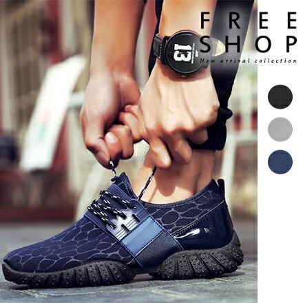 Free Shop 日韓街頭潮流感男款透氣網面低筒低統 鞋跑步鞋增高 水紋休閒鞋波鞋~QP