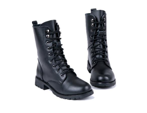 Women PUNK Military Army Knight Lace-up Short Boots Shoes 5