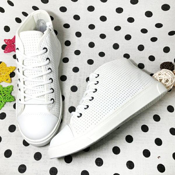 【限量優惠】女款皮質洞感透氣側拉鍊休閒鞋白MIT台灣製造[8363]超值價$200