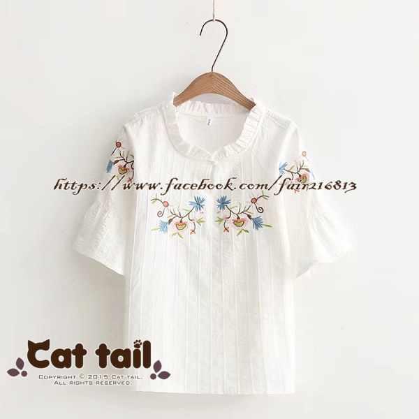 《貓尾巴》TS-0697民族風精緻刺繡短袖T恤(森林系日系棉麻文青清新)