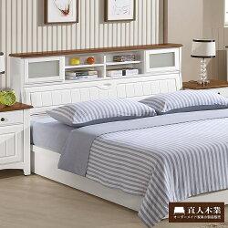 【日本直人木業】VICTOR鄉村風收納6尺雙人床頭