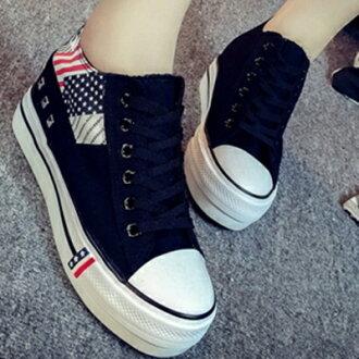 帆布鞋 休閒鞋-韓版厚底美國旗低筒平底女鞋子3色72ac21【獨家進口】【米蘭精品】