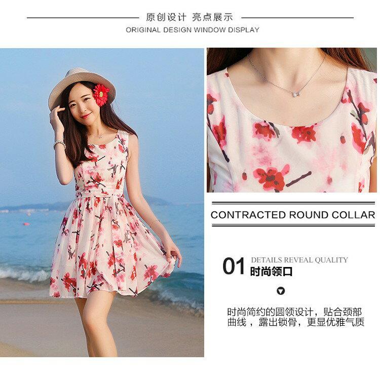 韓版時尚潮流xs夏無袖雪紡洋裝波西米亞海邊沙灘裙小個子女裝顯高店150cmLB13977《小蘿莉》 7