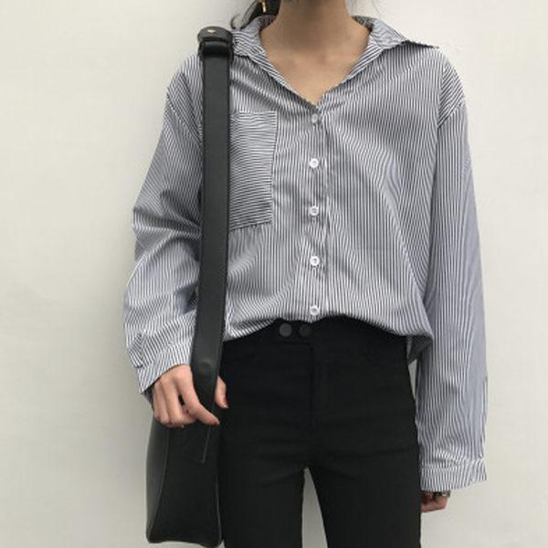 <br/><br/>  PS Mall 復古條紋翻領口袋條紋氣質長袖襯衫 上衣【T1609】<br/><br/>