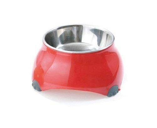 日本EH-TK《不低頭腳印造型防滑靜音山型碗-紅色10cm》180ml犬貓用