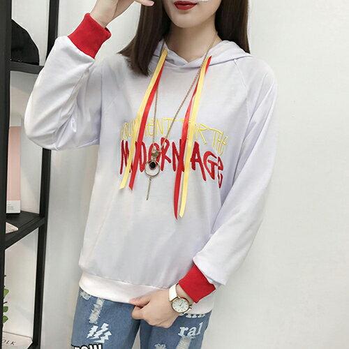 連帽繡花撞色衛衣T恤(2色M~XL) 【OREAD】 0
