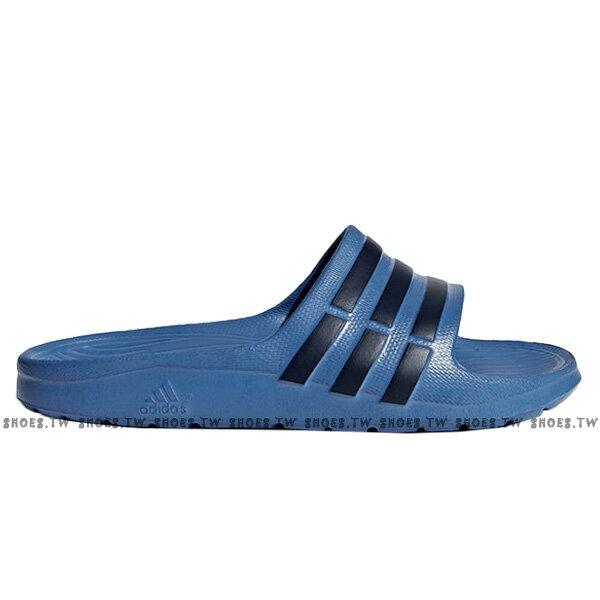 Shoestw【CP9383】ADIDAS DURAMO SLIDE K 拖鞋 一體成型 藍深藍條 大童 1