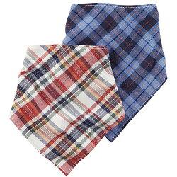 【hella 媽咪寶貝】美國 Carter / Carter's 嬰幼兒三角領巾圍兜兩入組(雙面棉質)_紅藍格紋  (CTPB004)