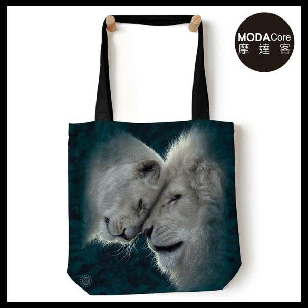 【摩達客】(預購)美國TheMountain白獅之愛藝術環保托特包