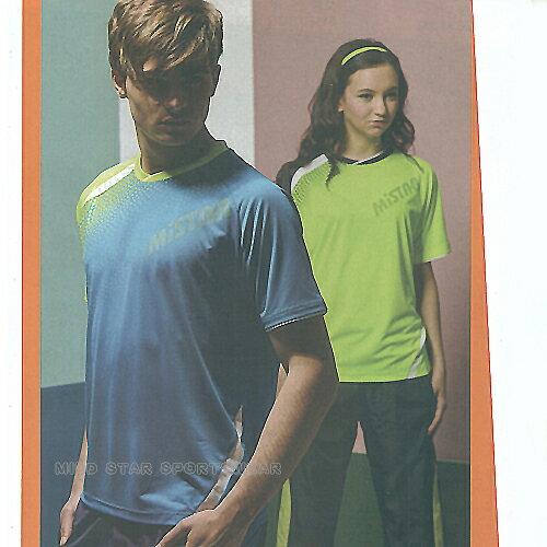 MILD STAR 男女吸濕排汗短T恤-寶藍#AS700405-螢綠#AS700404