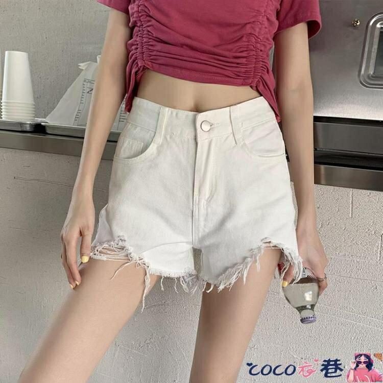 牛仔短褲 黑色牛仔短褲女高腰顯瘦a字寬鬆闊腿褲毛邊韓版學生百搭熱褲潮