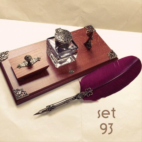 義大利 Bortoletti set93 羽毛沾水筆+墨水瓶+壓墨器+筆檯 組合 21501168424688 / 組