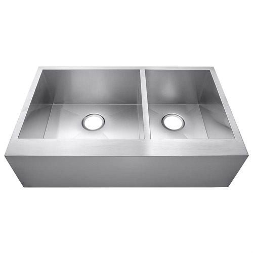 "33"" Stainless Steel Kitchen Sink Under Mount Double Bowl HandMade 16 Gauge T-304 1"