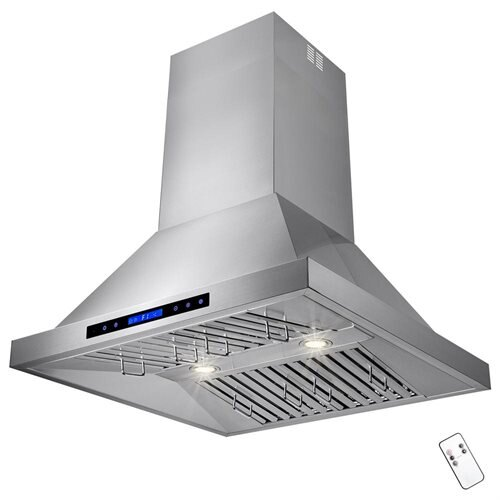 "AKDY 30"" Stainless Steel Island Mount Range Hood Touch Screen Display Baffle Filter Ductless Vent 1"