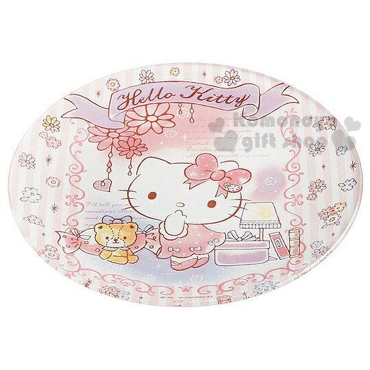 〔小禮堂〕Hello Kitty 玻璃蛋糕盤《白.粉條紋.花.小熊.站姿》