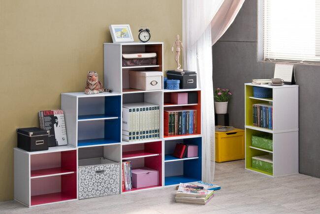書櫃/單格/二層/收納 TZUMii粉色單格兩層組合收納櫃-櫻桃木色