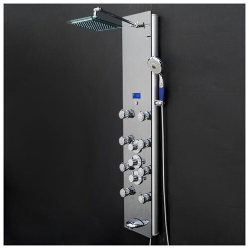 "AKDY 52"" Tempered Glass Wall Mount Multi-Function Shower Panel Tower System 0"