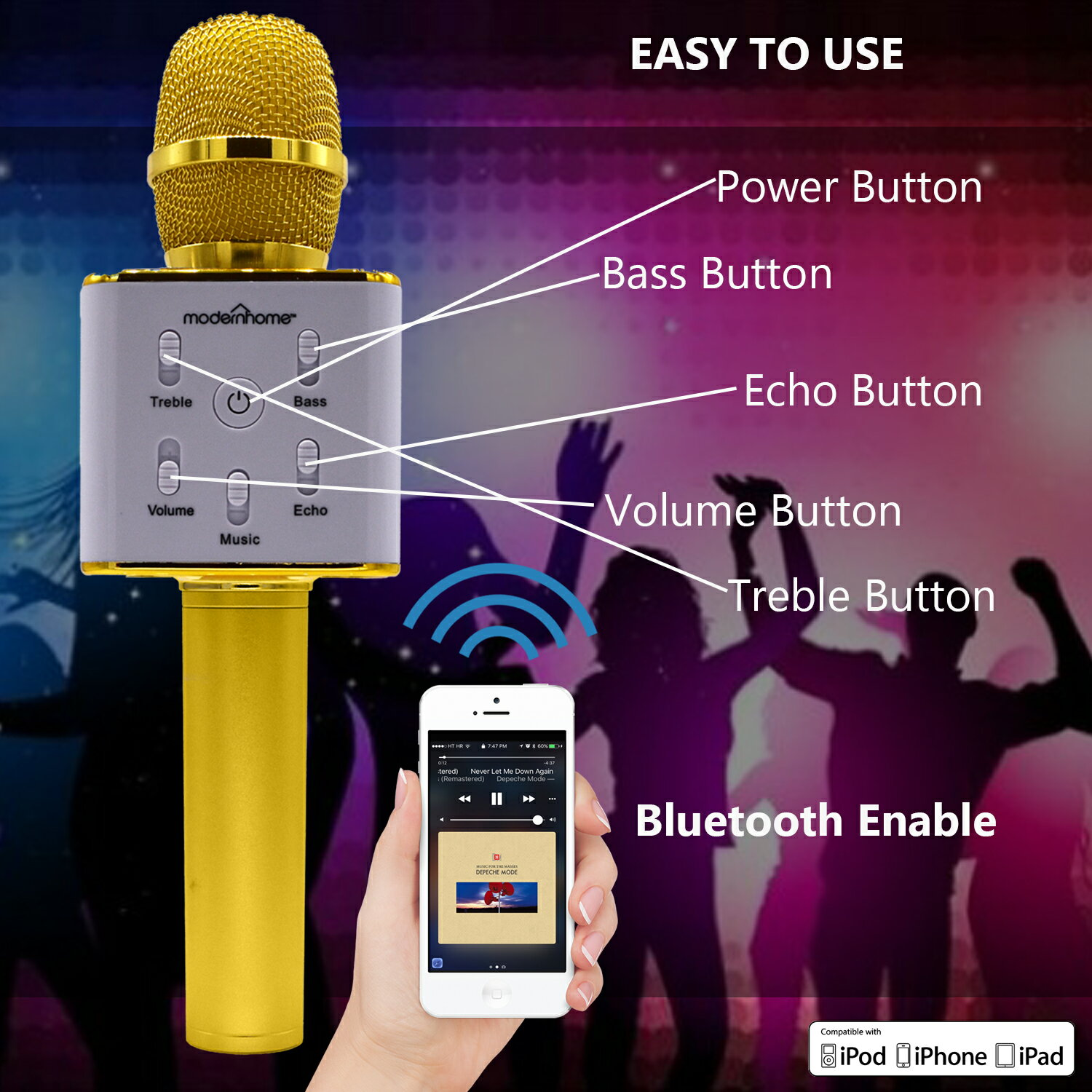 Wireless Karaoke Microphone with Speaker Pro, 2-in-1 Protable Bluetooth KTV Karaoke Machine for Apple Android Smartphone, Gifts for Kids, Birthday 5