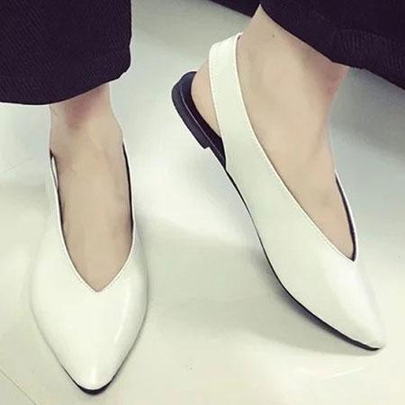 涼鞋 歐美時尚皮革素色尖頭涼鞋【S1617】☆雙兒網☆ 1