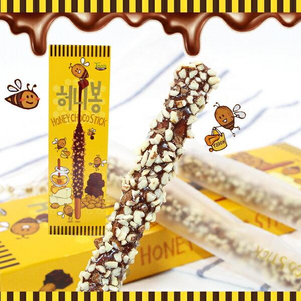 有樂町進口食品 韓國人氣商品 Tom蜂蜜杏仁果巧克力pocky棒 K48 8809399460264