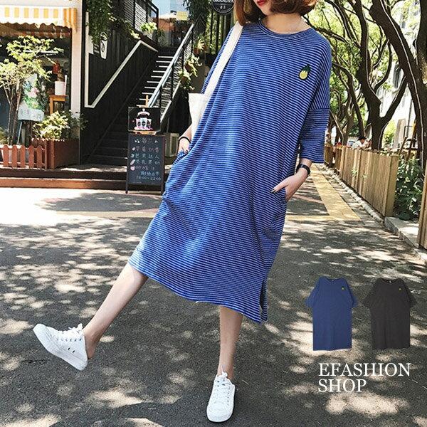 鳳梨貼布細橫條側口袋棉質洋裝-eFashion預【H10603188】