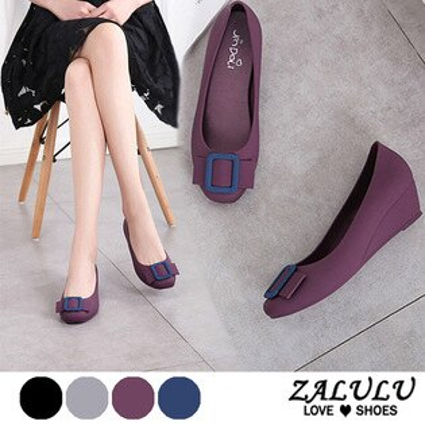 ZALULU愛鞋館7U315皮帶方扣設計楔型防水雨鞋-黑灰藍紫-36-40